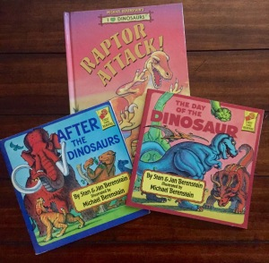 Classic dinosaur books by Mike, Stan, and Jan Berenstain - but no Berenstain Bears
